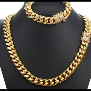 Beautiful Men's Jewelry Sets Iced Out CZ Gold